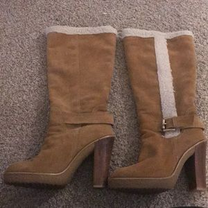 Michael Kors Camel Beige Suede Leather Boots